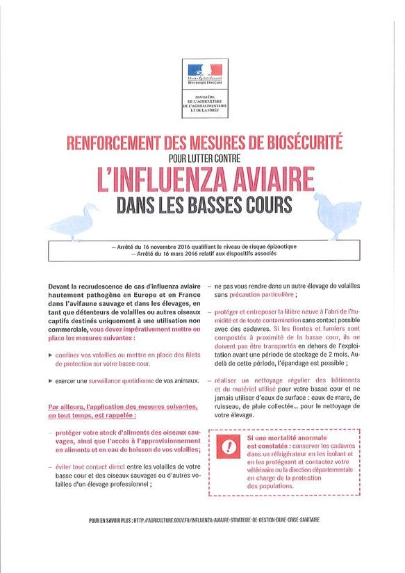 Mesures contre l'Influenza Aviaire
