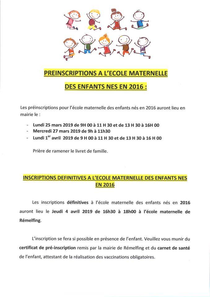 Commune De Rémelfing Inscriptions à Lécole Maternelle Le 0319